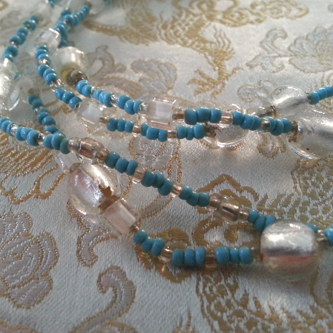 Blue Frost Love Beads - Handmade by Kinzie