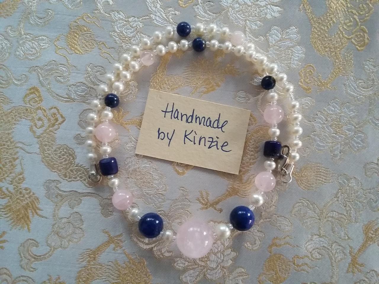 Lapis, rose quartz and pearls